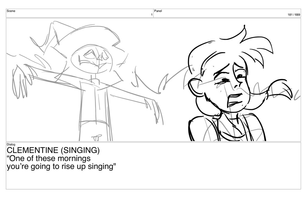 Scene 1 Panel 181 / 689 Dialog CLEMENTINE (SING...
