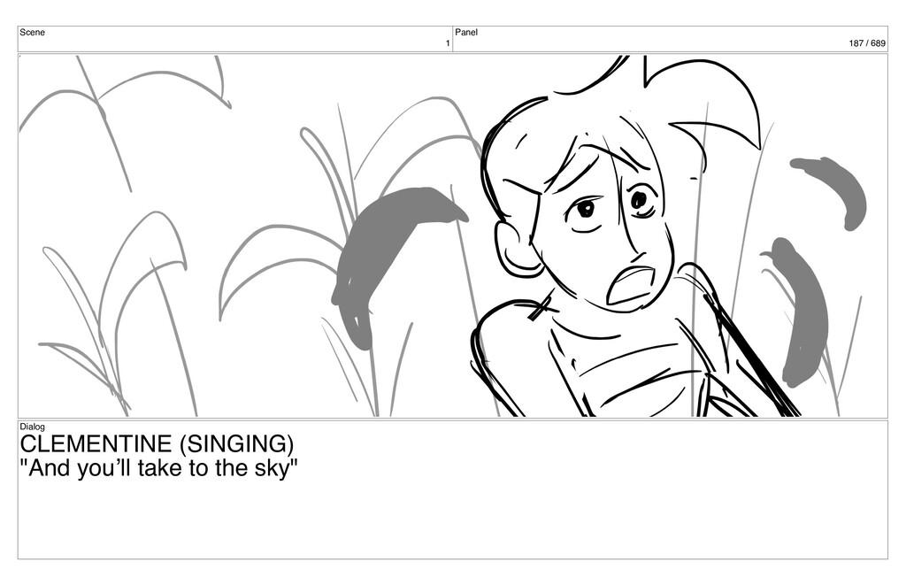 Scene 1 Panel 187 / 689 Dialog CLEMENTINE (SING...