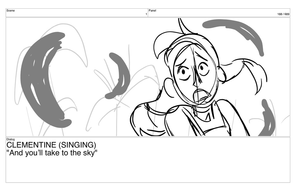 Scene 1 Panel 188 / 689 Dialog CLEMENTINE (SING...