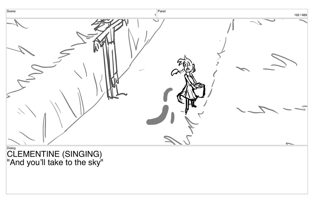 Scene 1 Panel 192 / 689 Dialog CLEMENTINE (SING...