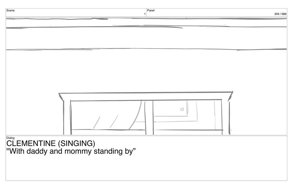 Scene 1 Panel 205 / 689 Dialog CLEMENTINE (SING...