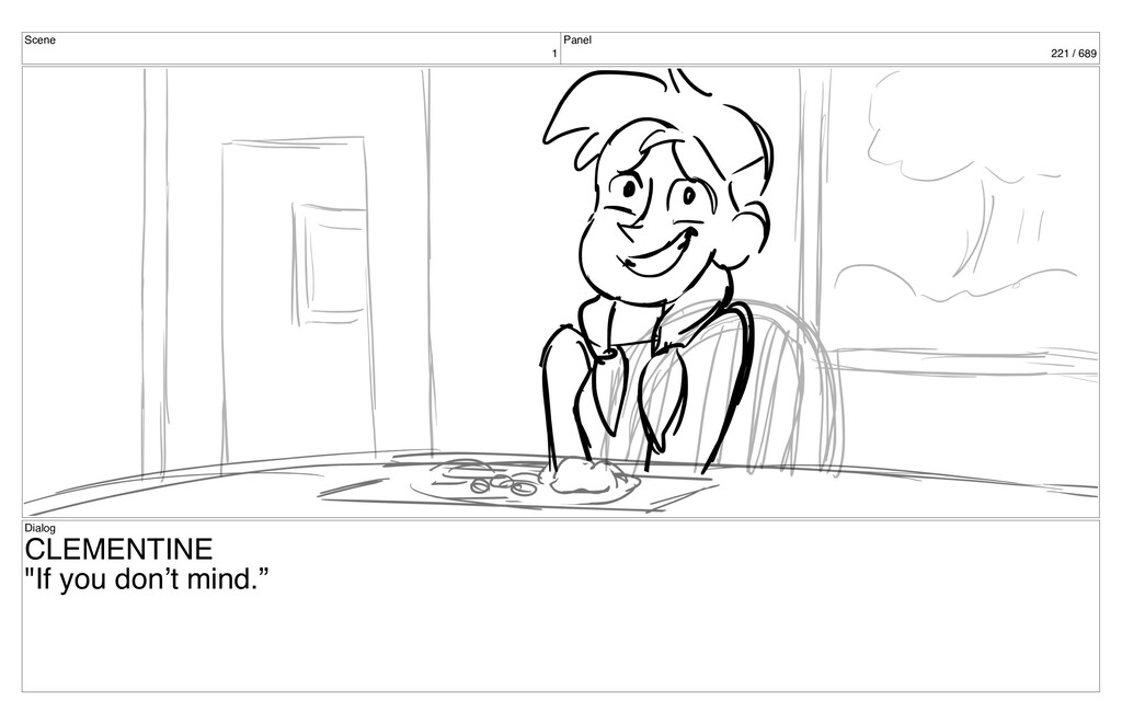 "Scene 1 Panel 221 / 689 Dialog CLEMENTINE ""If y..."