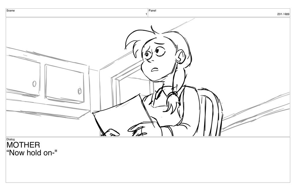 """Scene 1 Panel 231 / 689 Dialog MOTHER """"Now hold..."""