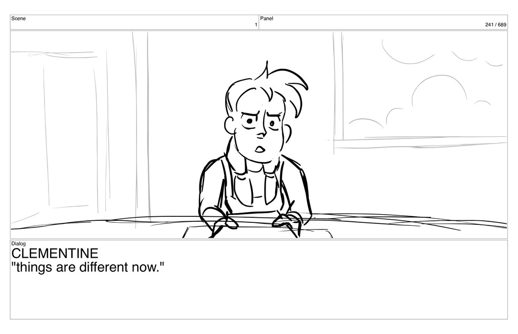 "Scene 1 Panel 241 / 689 Dialog CLEMENTINE ""thin..."