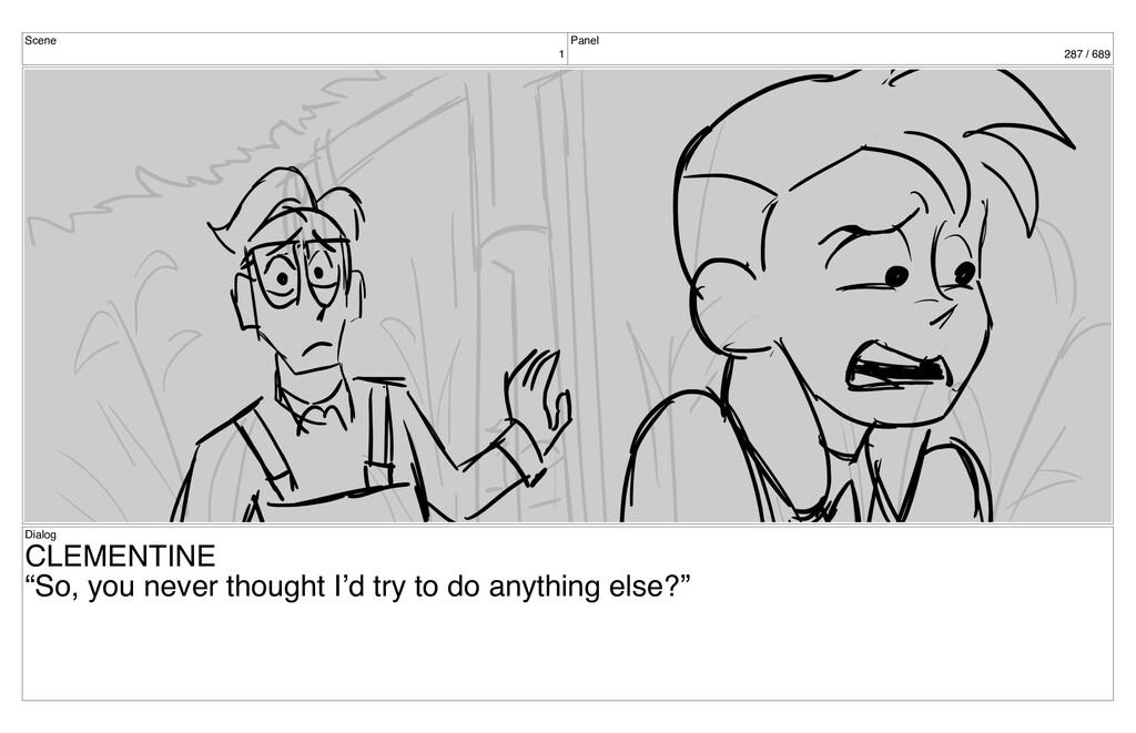 "Scene 1 Panel 287 / 689 Dialog CLEMENTINE ""So, ..."