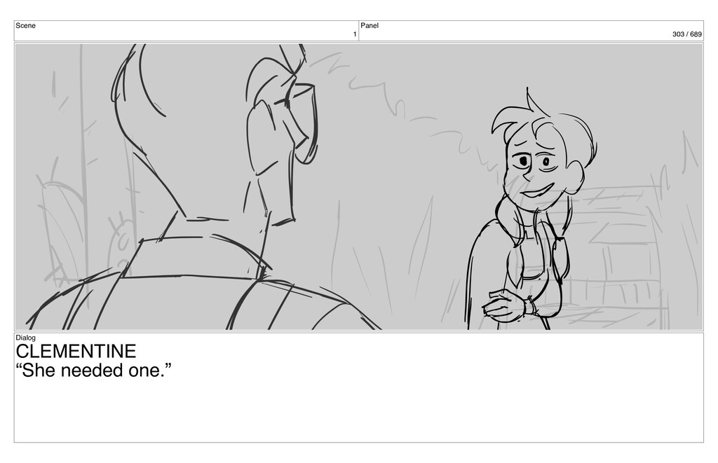 "Scene 1 Panel 303 / 689 Dialog CLEMENTINE ""She ..."
