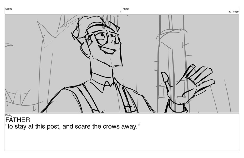 """Scene 1 Panel 307 / 689 Dialog FATHER """"to stay ..."""