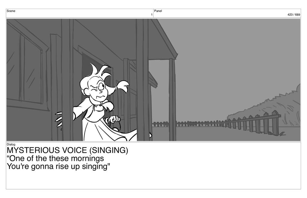 Scene 1 Panel 423 / 689 Dialog MYSTERIOUS VOICE...