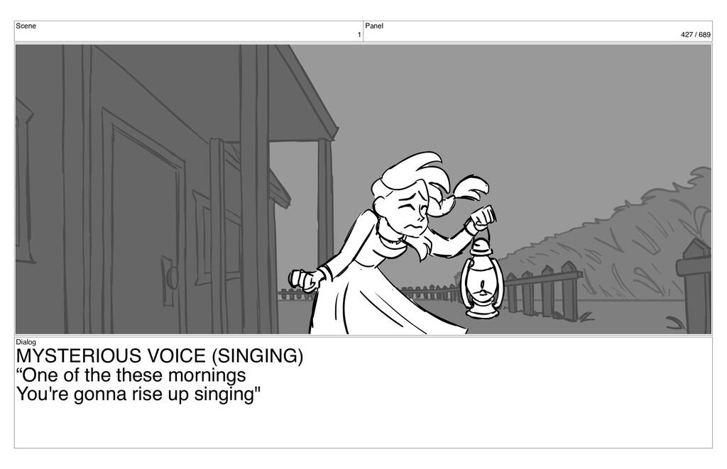 Scene 1 Panel 427 / 689 Dialog MYSTERIOUS VOICE...