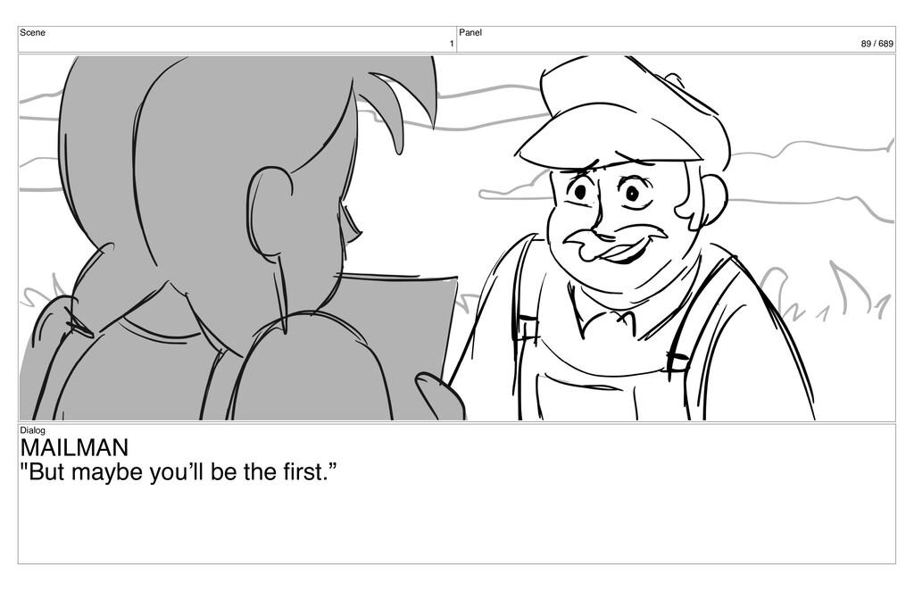 "Scene 1 Panel 89 / 689 Dialog MAILMAN ""But mayb..."