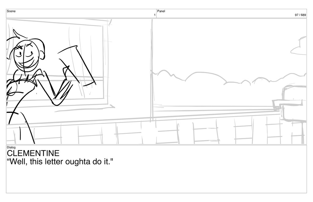 "Scene 1 Panel 97 / 689 Dialog CLEMENTINE ""Well,..."