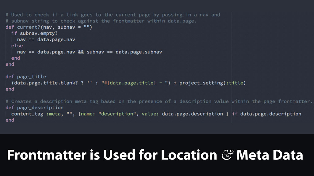 Frontmatter is Used for Location & Meta Data