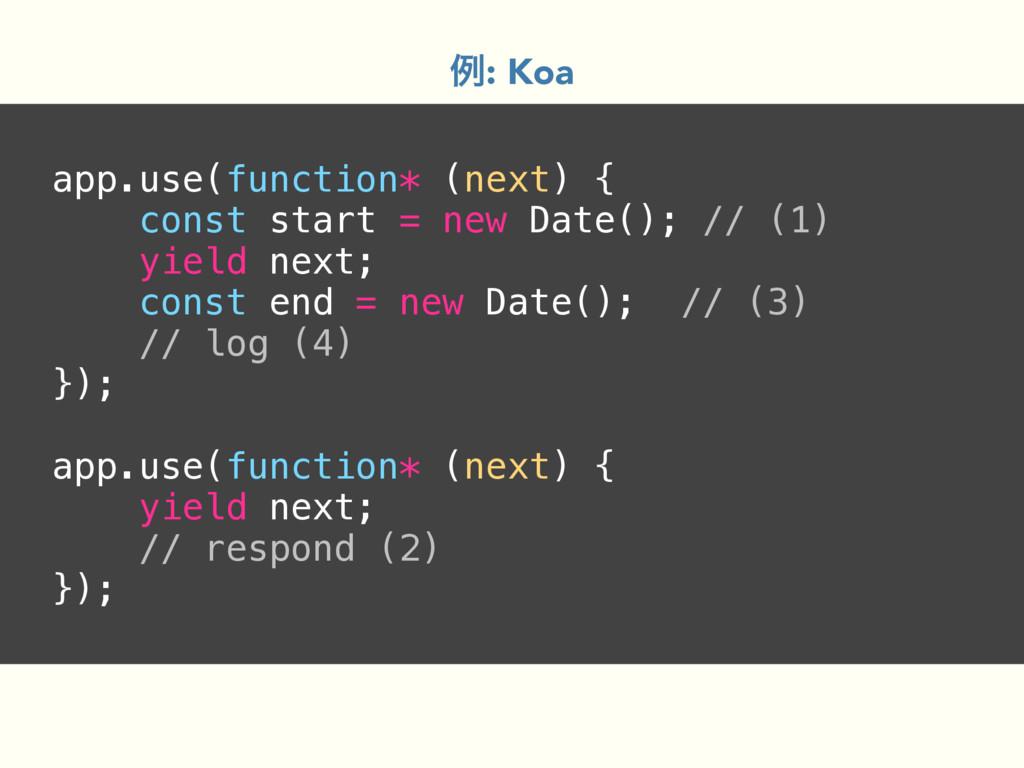 app.use(function* (next) { const start = new Da...