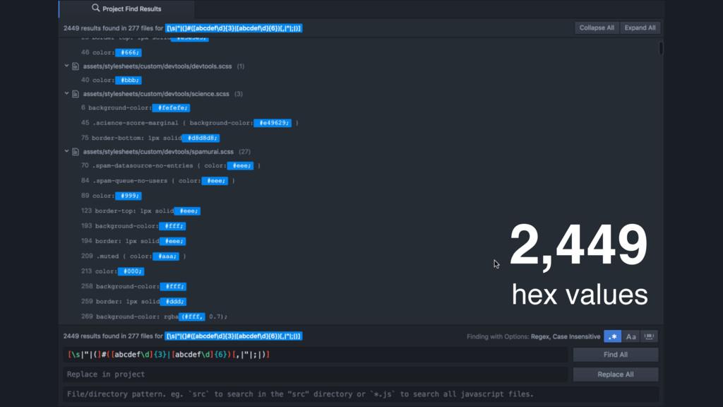 2,449 hex values