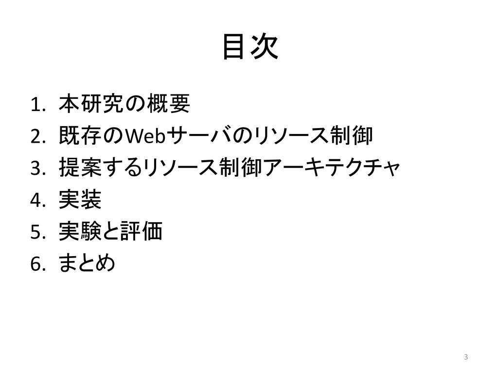 目次 1. 本研究の概要 2. 既存のWebサーバのリソース制御 3. 提案するリソース制御ア...