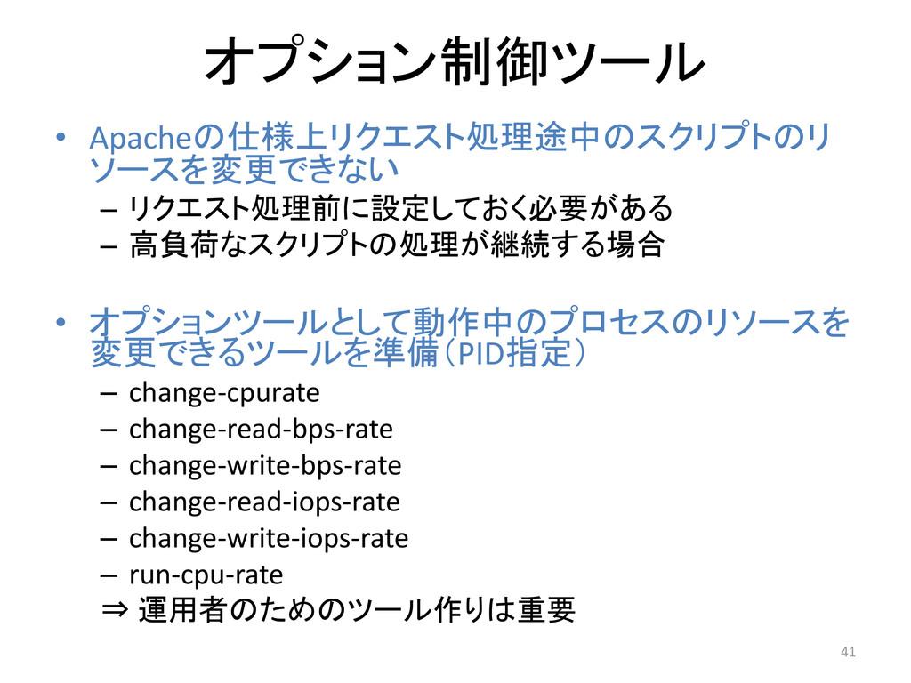 オプション制御ツール • Apacheの仕様上リクエスト処理途中のスクリプトのリ ソースを変更...