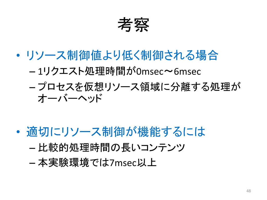 考察 • リソース制御値より低く制御される場合 – 1リクエスト処理時間が0msec〜6mse...