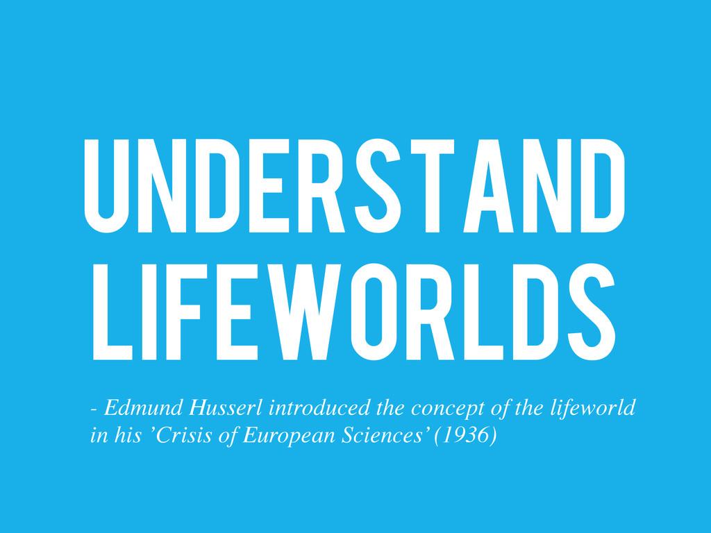 UNDERSTAND LIFEWORLDS - Edmund Husserl introduc...