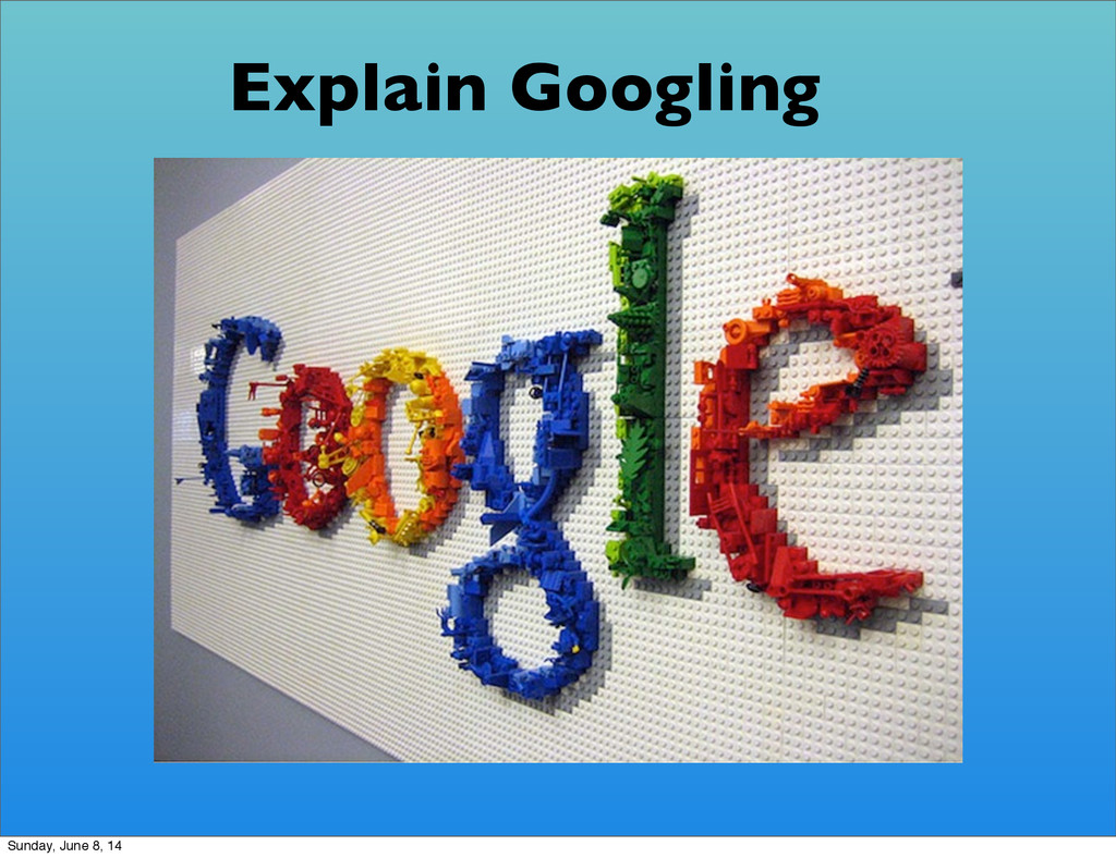Explain Googling Sunday, June 8, 14