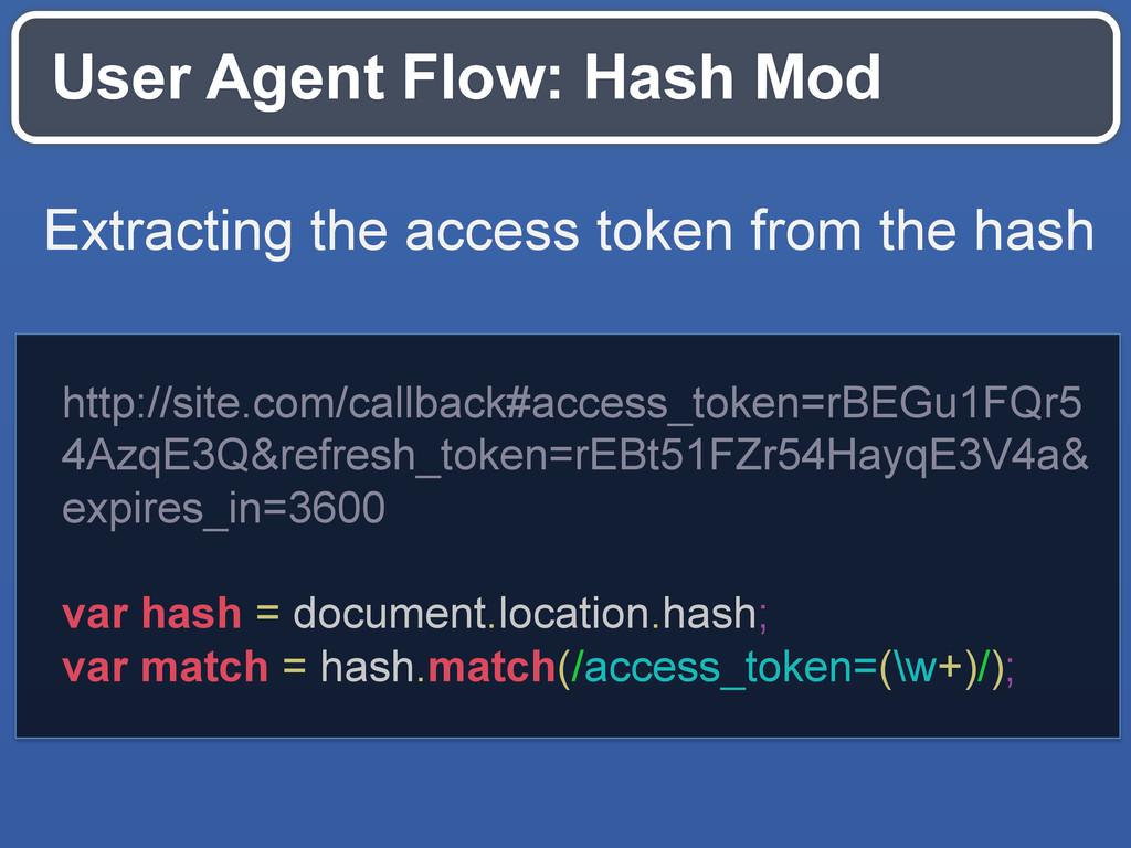 User Agent Flow: Hash Mod http://site.com/callb...
