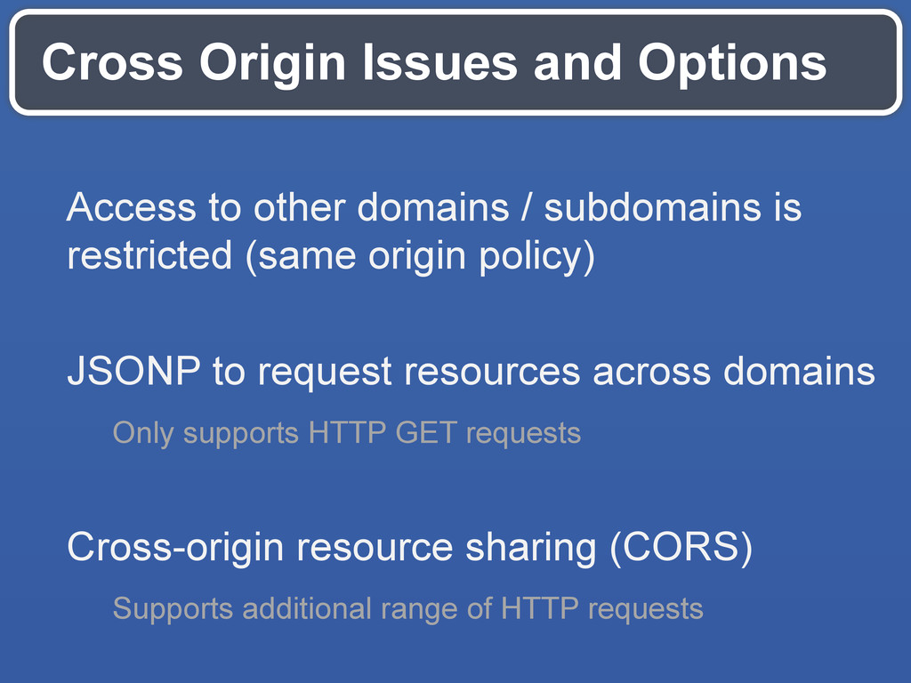 Cross Origin Issues and Options Access to other...