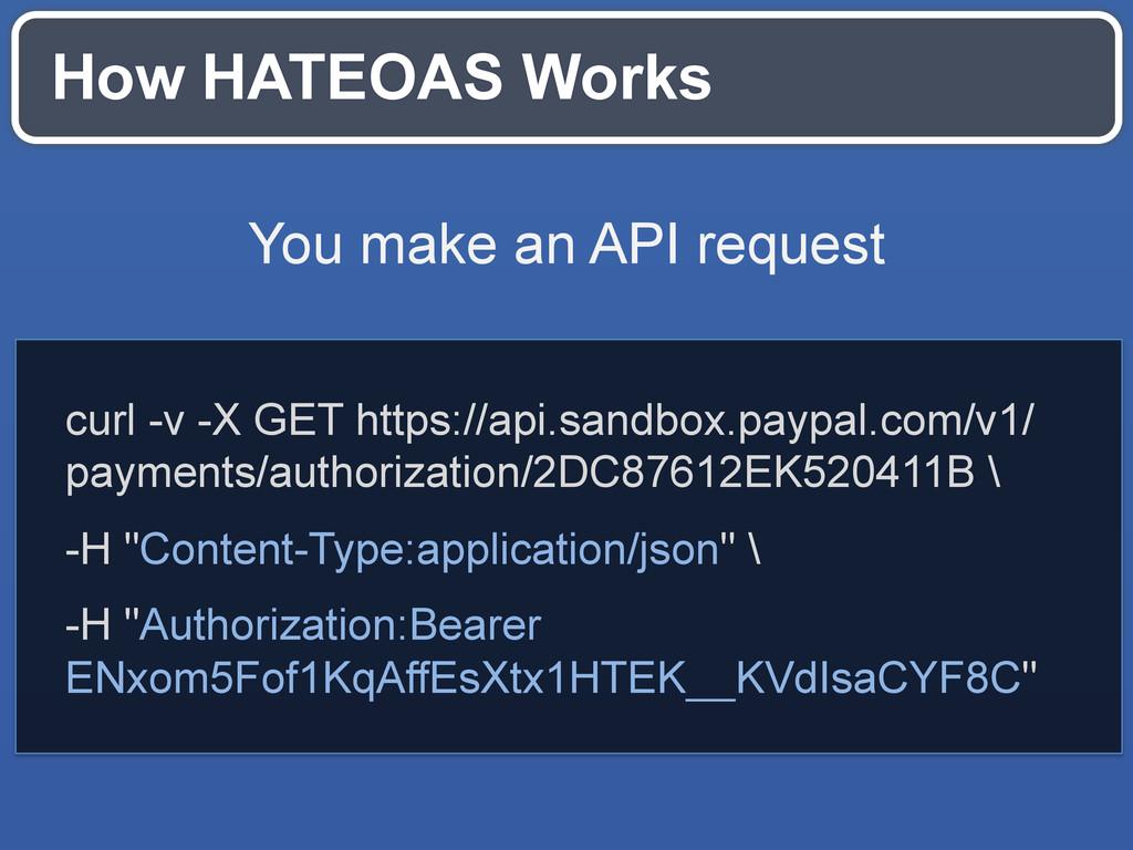 How HATEOAS Works curl -v -X GET https://api.sa...