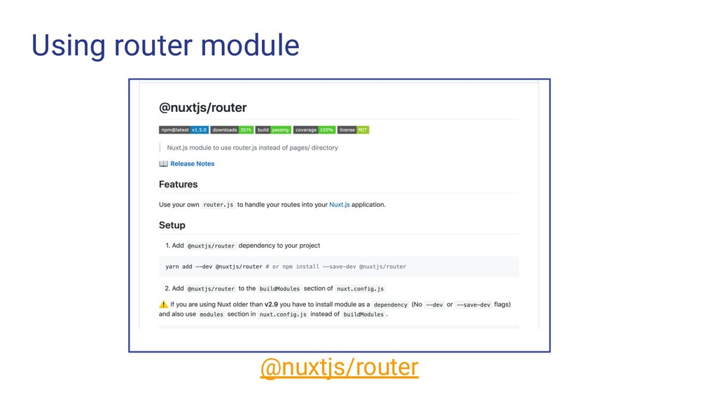 Using router module @nuxtjs/router