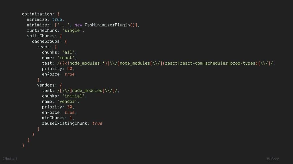 optimization: { minimize: true, minimizer: ['.....
