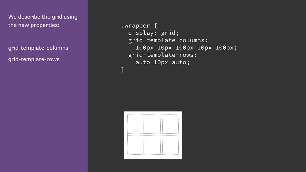 We describe the grid using the new properties: ...