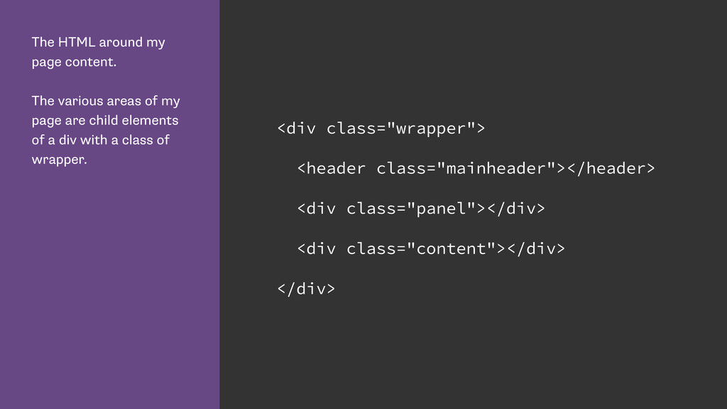 The HTML around my page content. The various ar...
