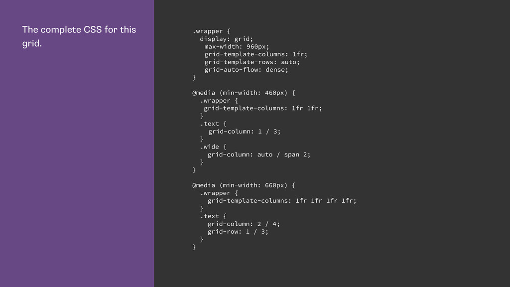 The complete CSS for this grid. .wrapper { disp...