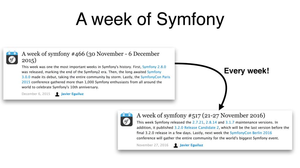 A week of Symfony Every week!