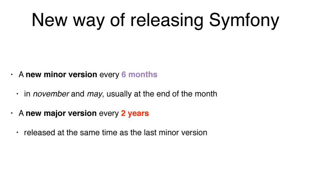 New way of releasing Symfony • A new minor vers...