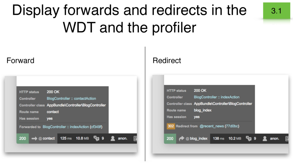 Display forwards and redirects in the WDT and t...