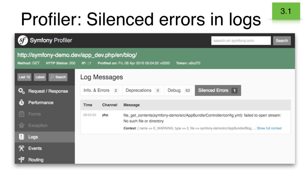 Profiler: Silenced errors in logs 3.1