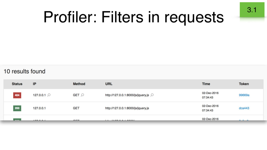 Profiler: Filters in requests 3.1