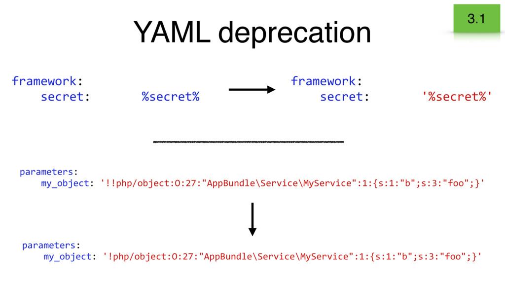 YAML deprecation 3.1 framework: secret: %secret...