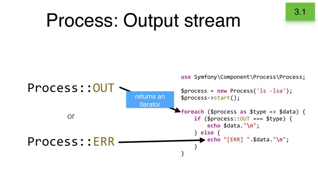 Process: Output stream 3.1 Process::OUT Process...
