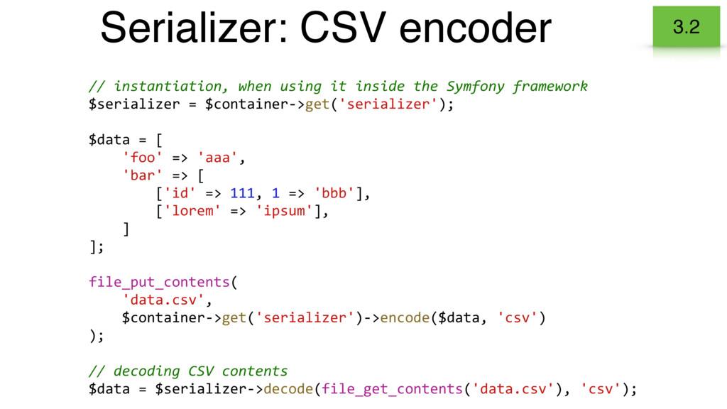 Serializer: CSV encoder 3.2 // instantiation, w...