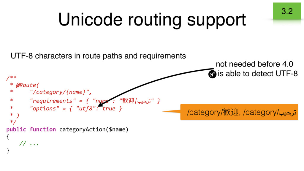 Unicode routing support UTF-8 characters in rou...