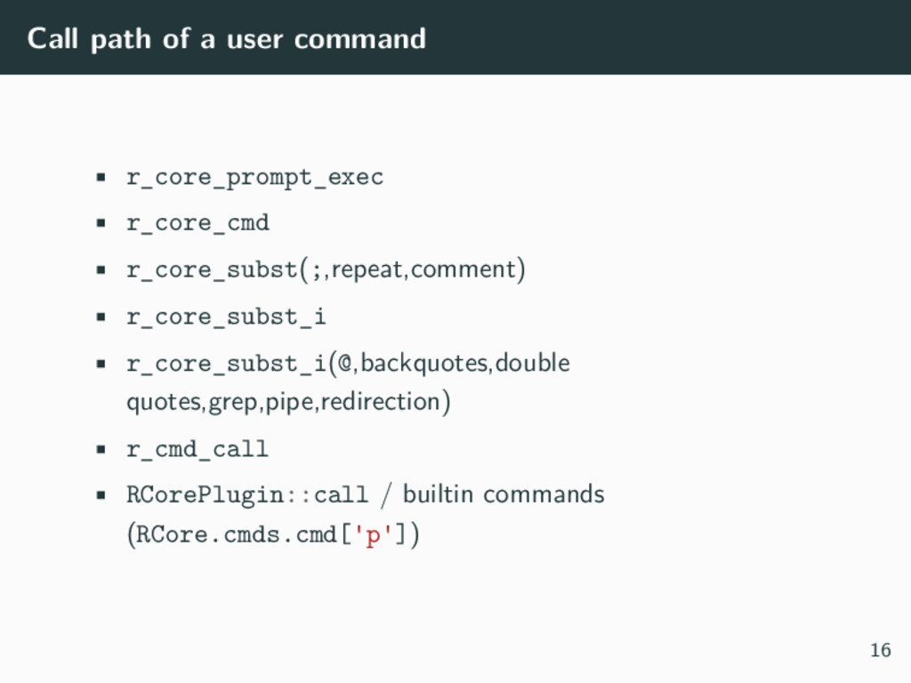 Call path of a user command • r_core_prompt_exe...