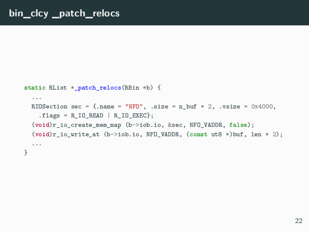 bin_clcy _patch_relocs static RList *_patch_rel...