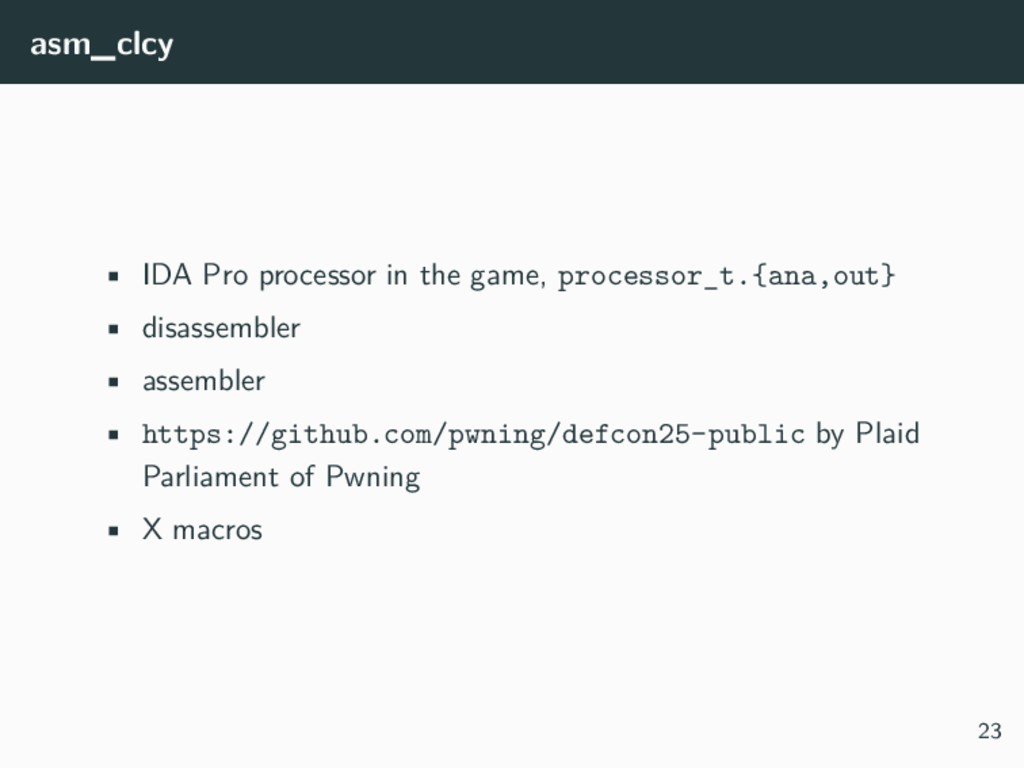 asm_clcy • IDA Pro processor in the game, proce...