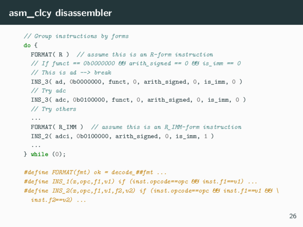 asm_clcy disassembler // Group instructions by ...