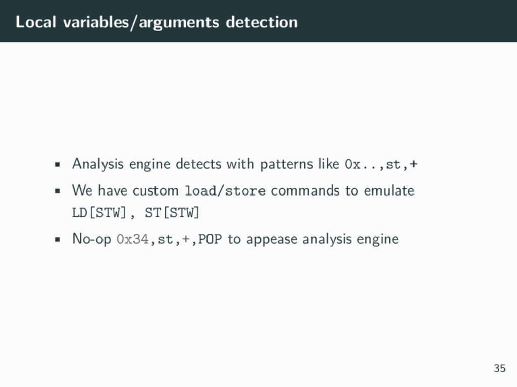 Local variables/arguments detection • Analysis ...