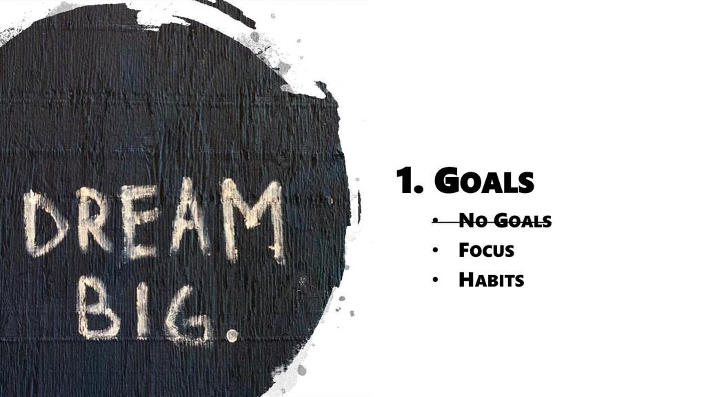 1. GOALS • NO GOALS • FOCUS • HABITS