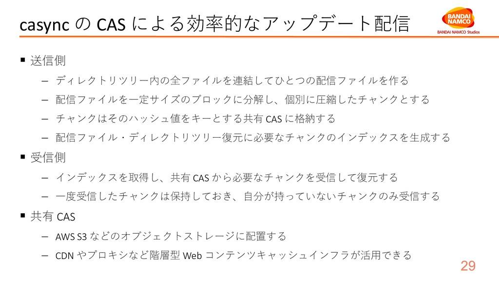 casync の CAS による効率的なアップデート配信 ▪ 送信側 − ディレクトリツリー内...