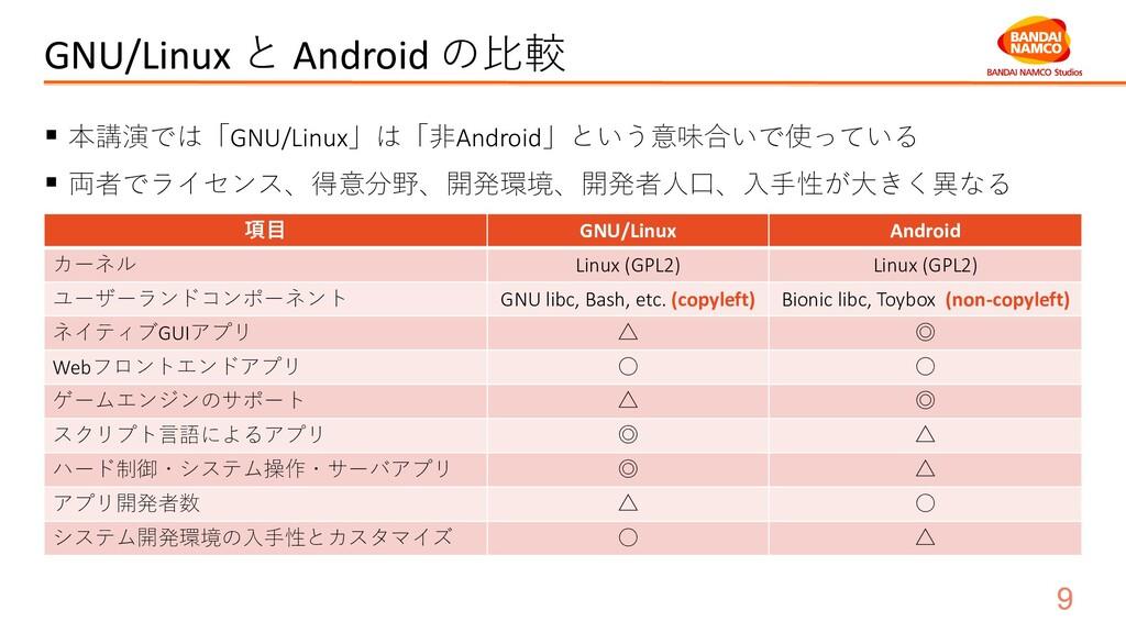 GNU/Linux と Android の比較 ▪ 本講演では「GNU/Linux」は「非An...
