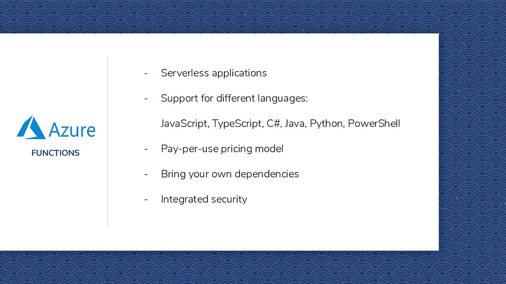 FUNCTIONS - Serverless applications - Support f...
