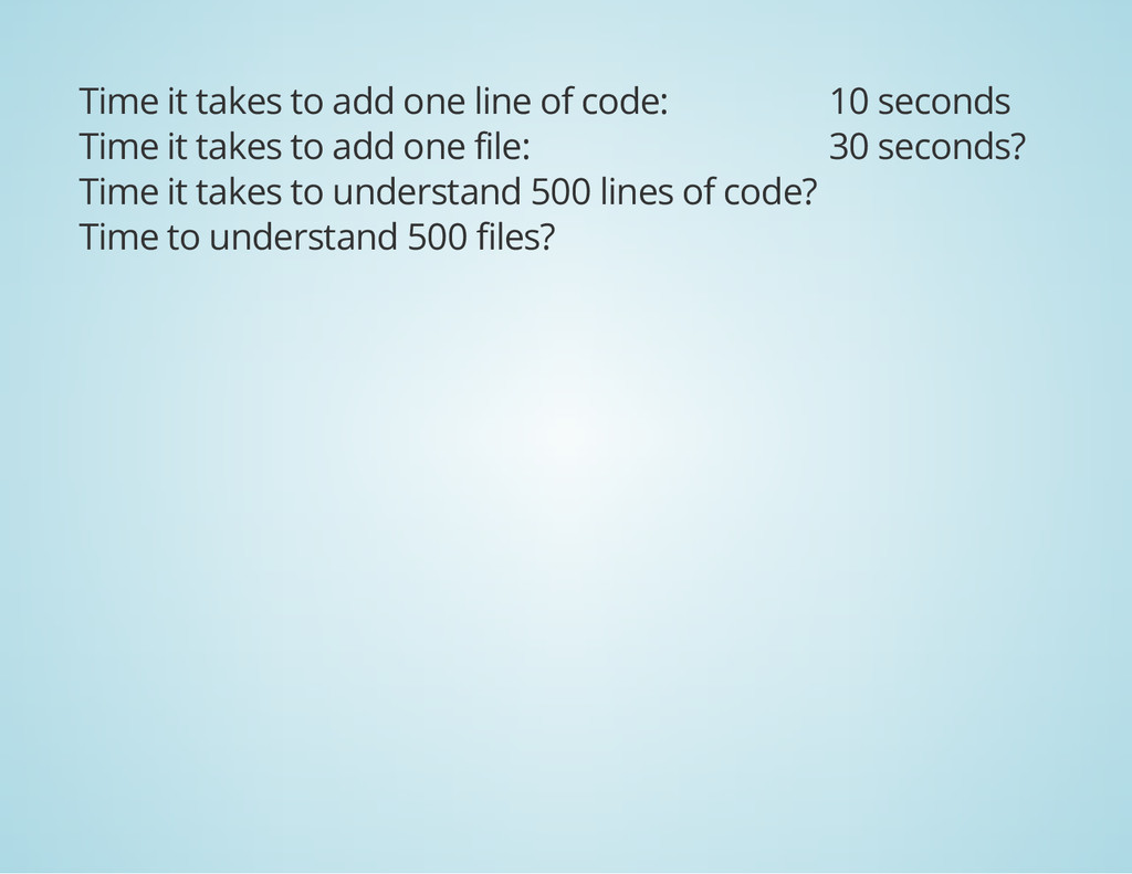 Time it takes to add one line of code: 10 secon...
